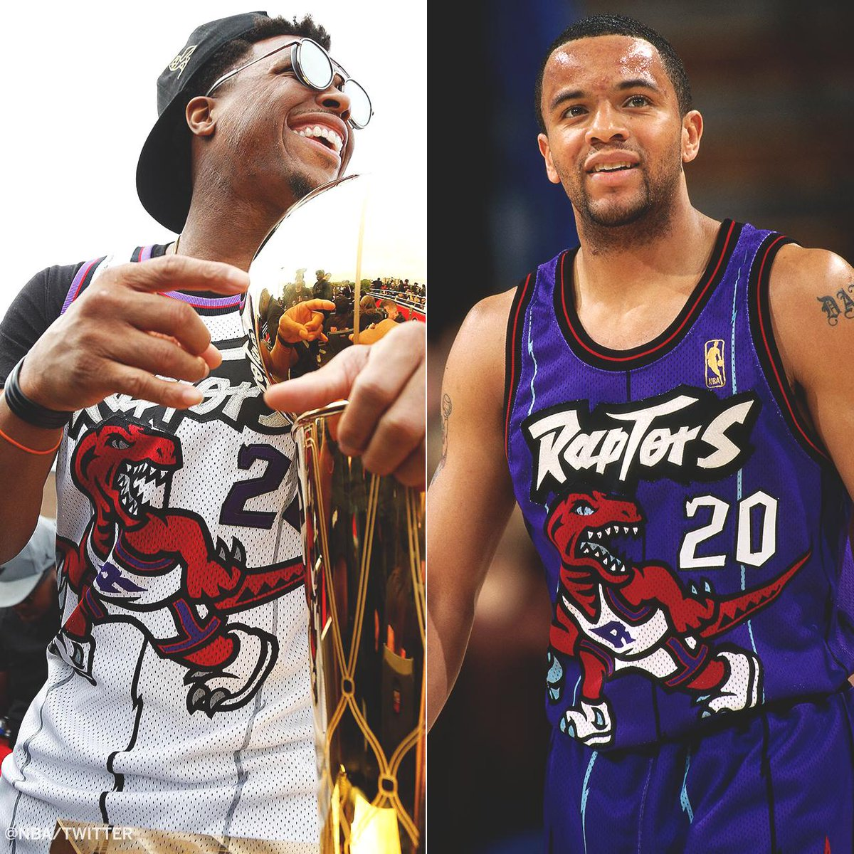 Kyle Lowry wore a throwback Damon Stoudemire jersey at the parade today.  Stoudemire was the first draft pick in Raptors history.