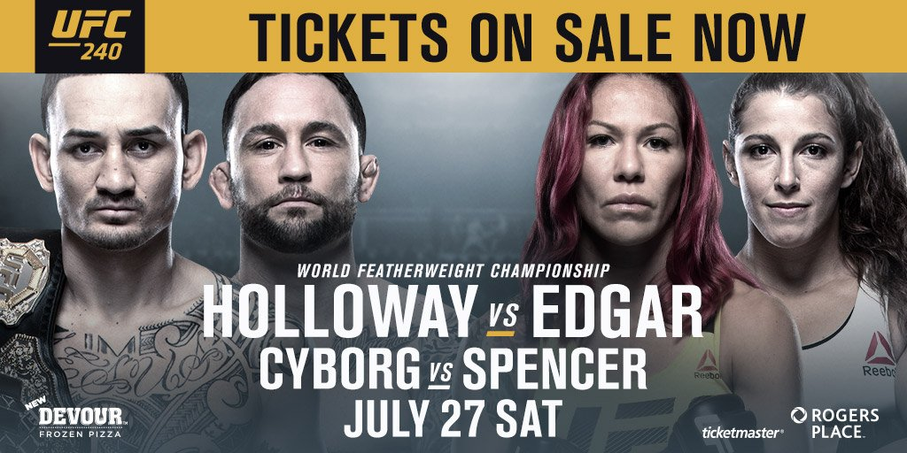 #UFC240 will be at #RogersPlace July 27! 🇨🇦  MORE INFO ➜ http://rogersplace.com/ufc240/