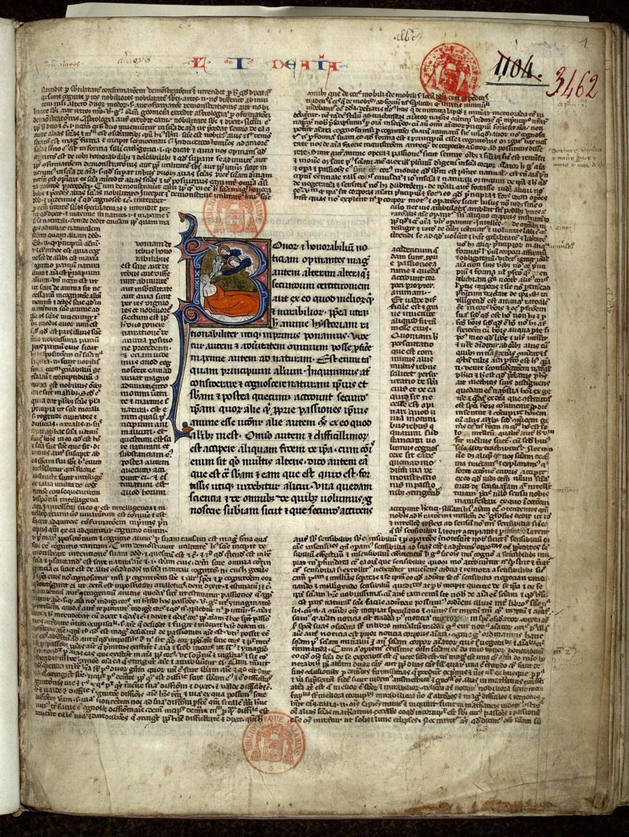 """Very unusual page layout: central text (Aristotle) surrounded by """"square-bracket"""" commentary, as well as an extra - inner - layer of commentary (Paris BM 3462) <br>http://pic.twitter.com/WimnG99Kcz"""