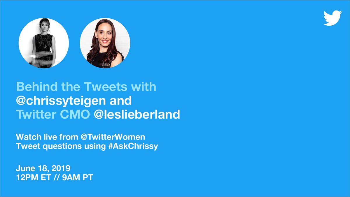 Model 👉 Mother 👉 Mogul 👉 Mayor of Twitter!  There's only one @chrissyteigen.  Join us as @leslieberland goes behind the Tweets with Chrissy, live and unfiltered. Tweet your questions using #AskChrissy and watch live on June 18 at 12pm ET / 9am PT.