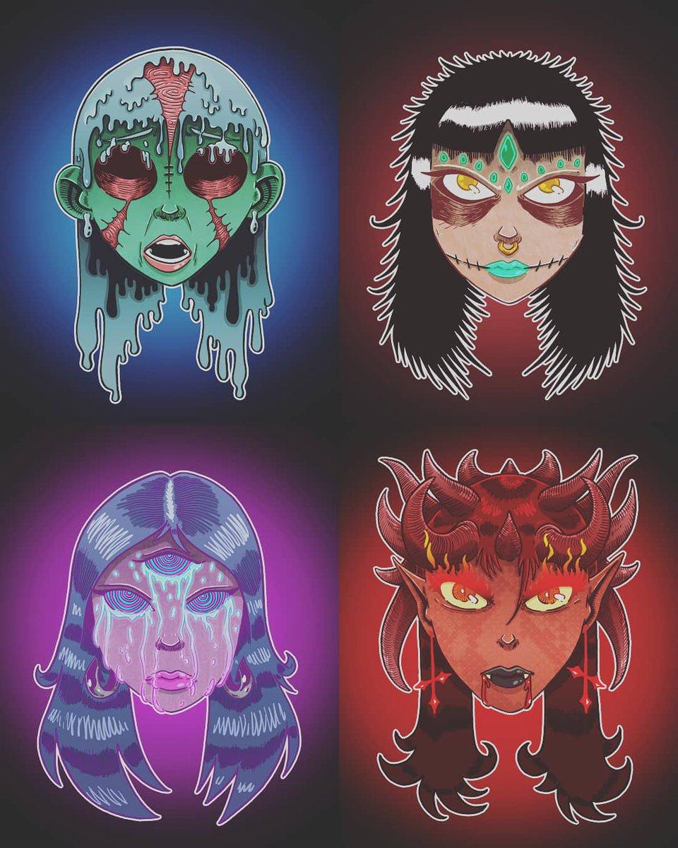 Choisi ta démone /déesse... Anxiété, malédiction, âme ou torture ? Petits portraits avec pour thème de fond le Hellfest. C'est ce weekend, Hell yeah! #hellfest #girl #art #artist #artiste #illustration #doodle #girls #demons #demon #evil #godess #clisson #curse #anxiety