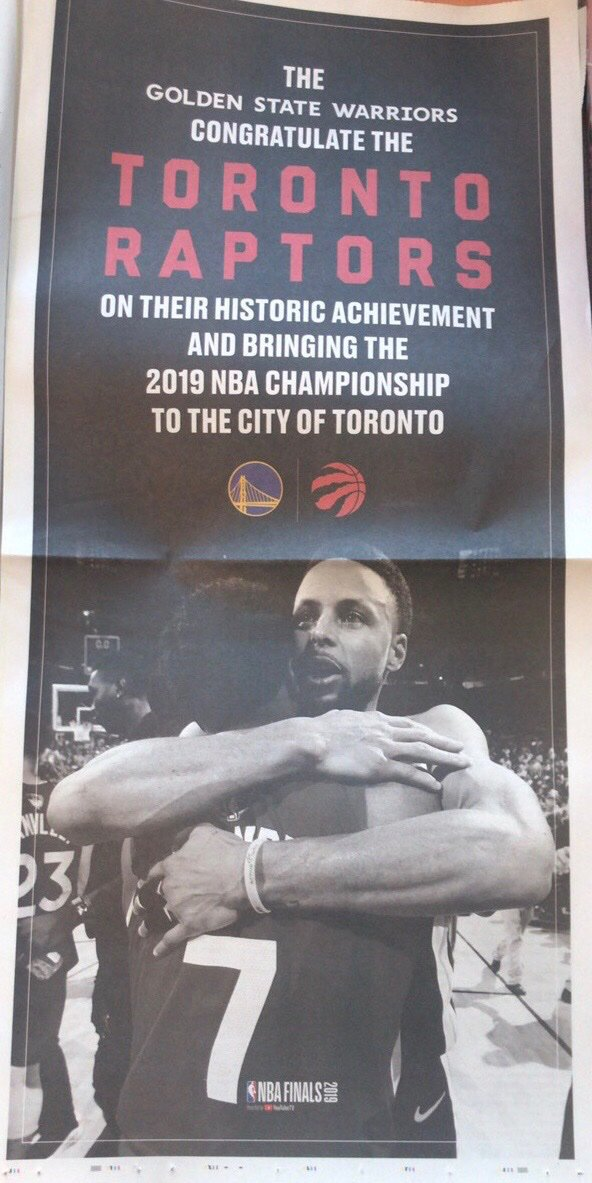 The Warriors Took Out This Full-Page Ad In Toronto's Newspaper Today