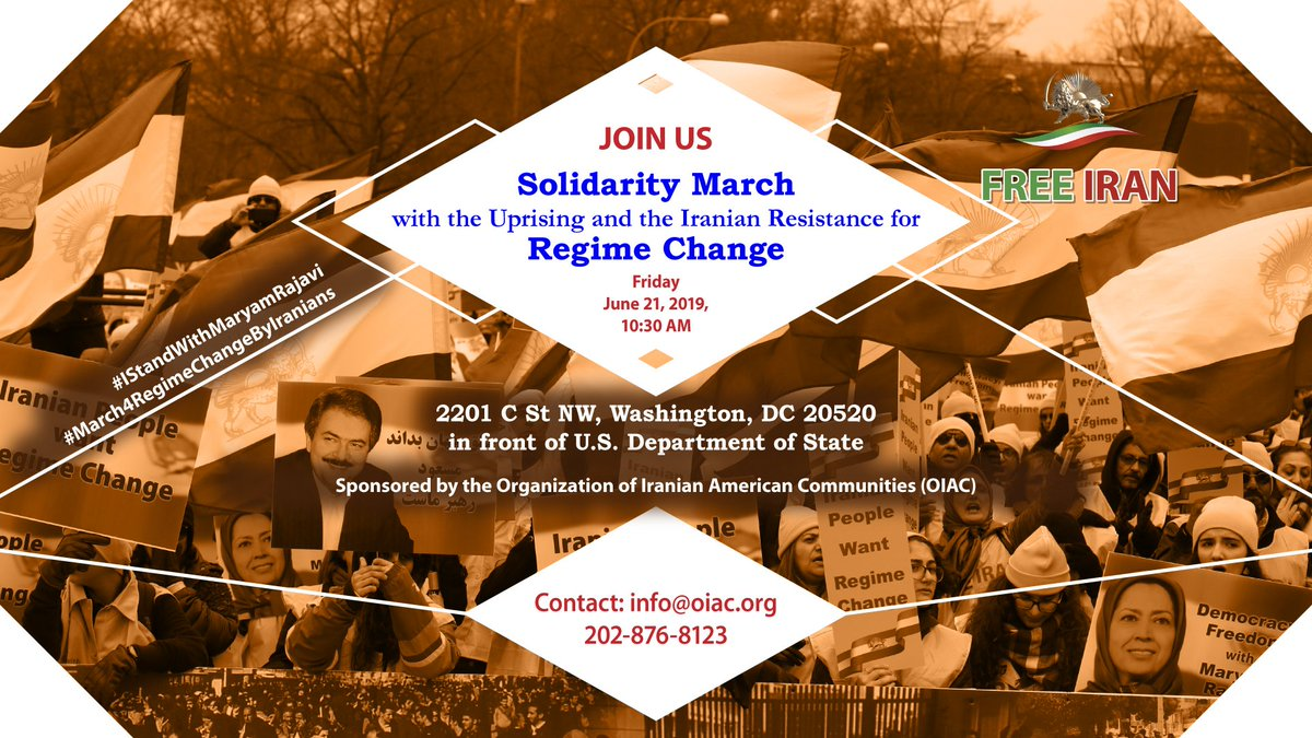 "Iranians from across America attending #March4RegimeChangebyIranians outside @StateDept on June 21 @ 10:30 am will say ""hardliner, reformer, the game is now over."" @dw_persian  @NBCNews More: https://oiac.org/solidarity-march-with-uprising-and-the-iranian-resistance/ …)#Iran #NoDeal4TerroristRegime"