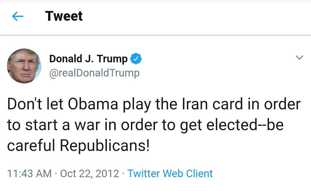 Don't let Donald play the Iran card in order to start a war in order to get elected--be  careful Republicans! #NoWarWithIran