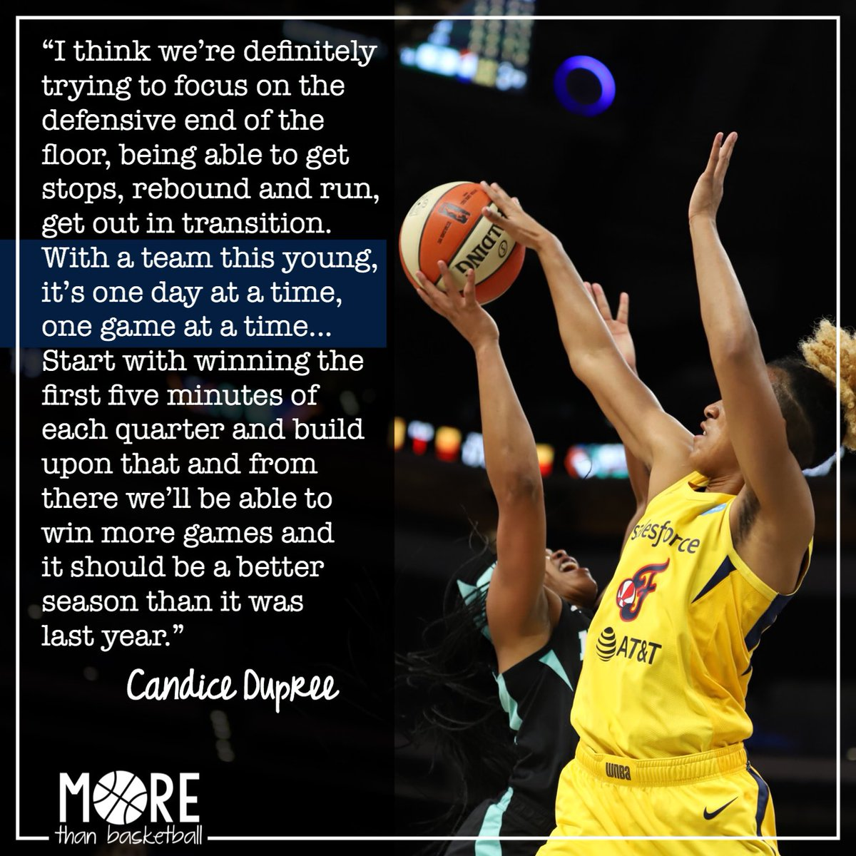 Veteran Candice Dupree believes that one day at a time, one game at a time, one quarter at a time, the @indianafever's young team can grow and improve. Rookie @TheReal_41 is one piece of the puzzle, with this block against the Liberty. . #fever20 #indianafever #allforlove