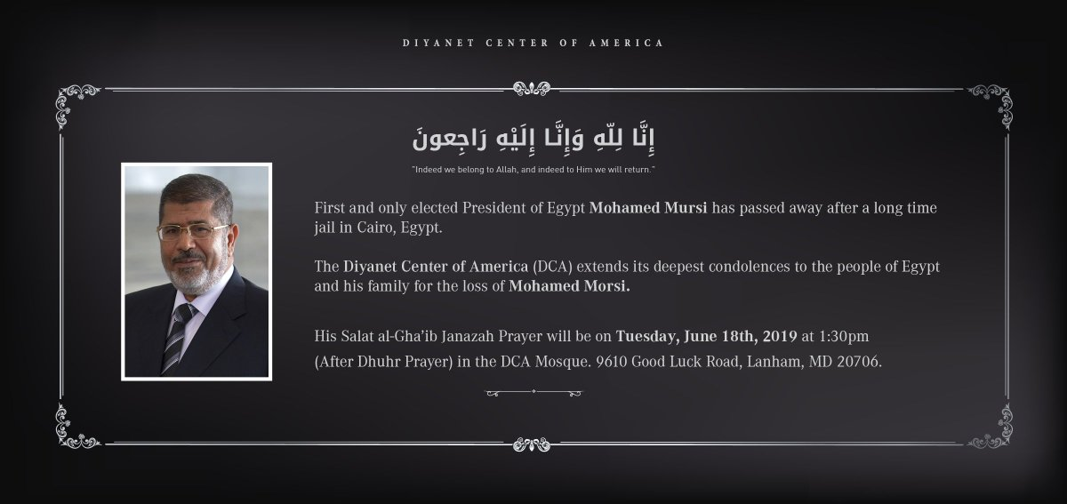 His Salat al-Gha'ib / Janazah Prayer will be on Tuesday, June 18th, 2019 at 1:30pm (After Dhuhr Prayer) in the @DiyanetAmerica Mosque.