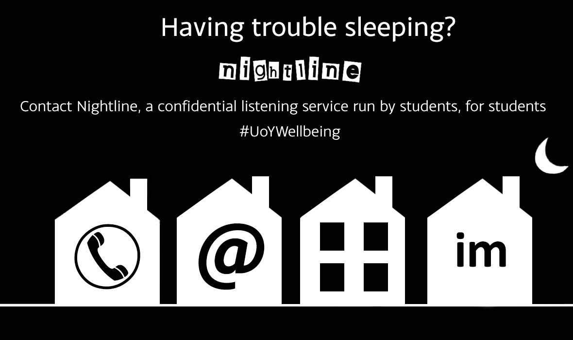 Feeling stressed, anxious or need a chat? @YorkNightline is here for you and available from 8pm-8am: http://bit.ly/13te1Z6 #uoywellbeing