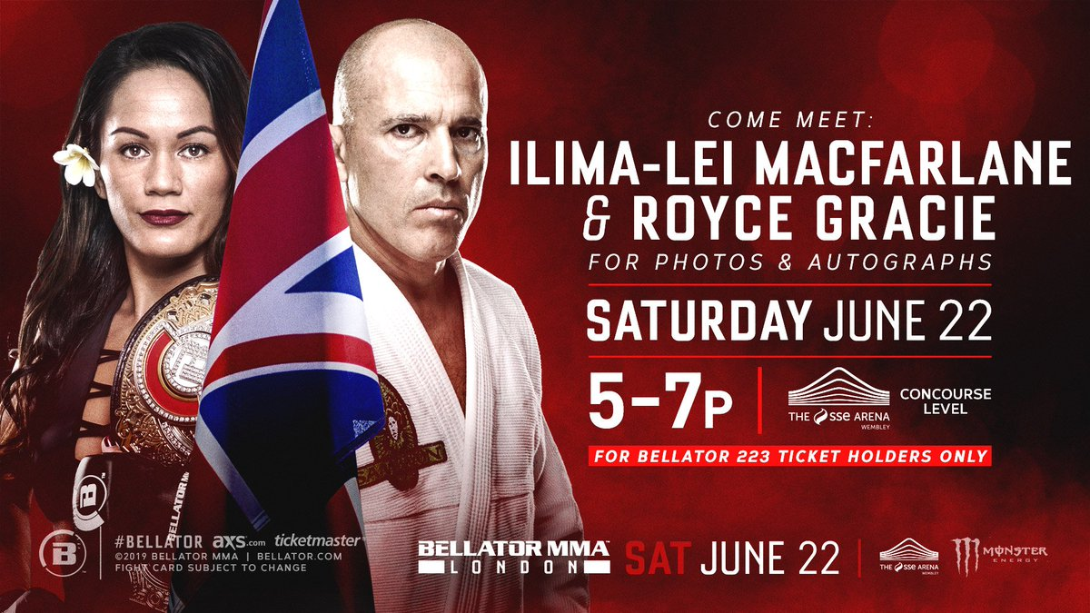 🎟 Get your #Bellator223 tix 👉 http://bit.ly/Bellator-London  📍Come by the concourse level of the arena between 5 & 7pm on Saturday!   📸 Enjoy an amazing Meet & Greet experience with @Ilimanator & @RealRoyce!