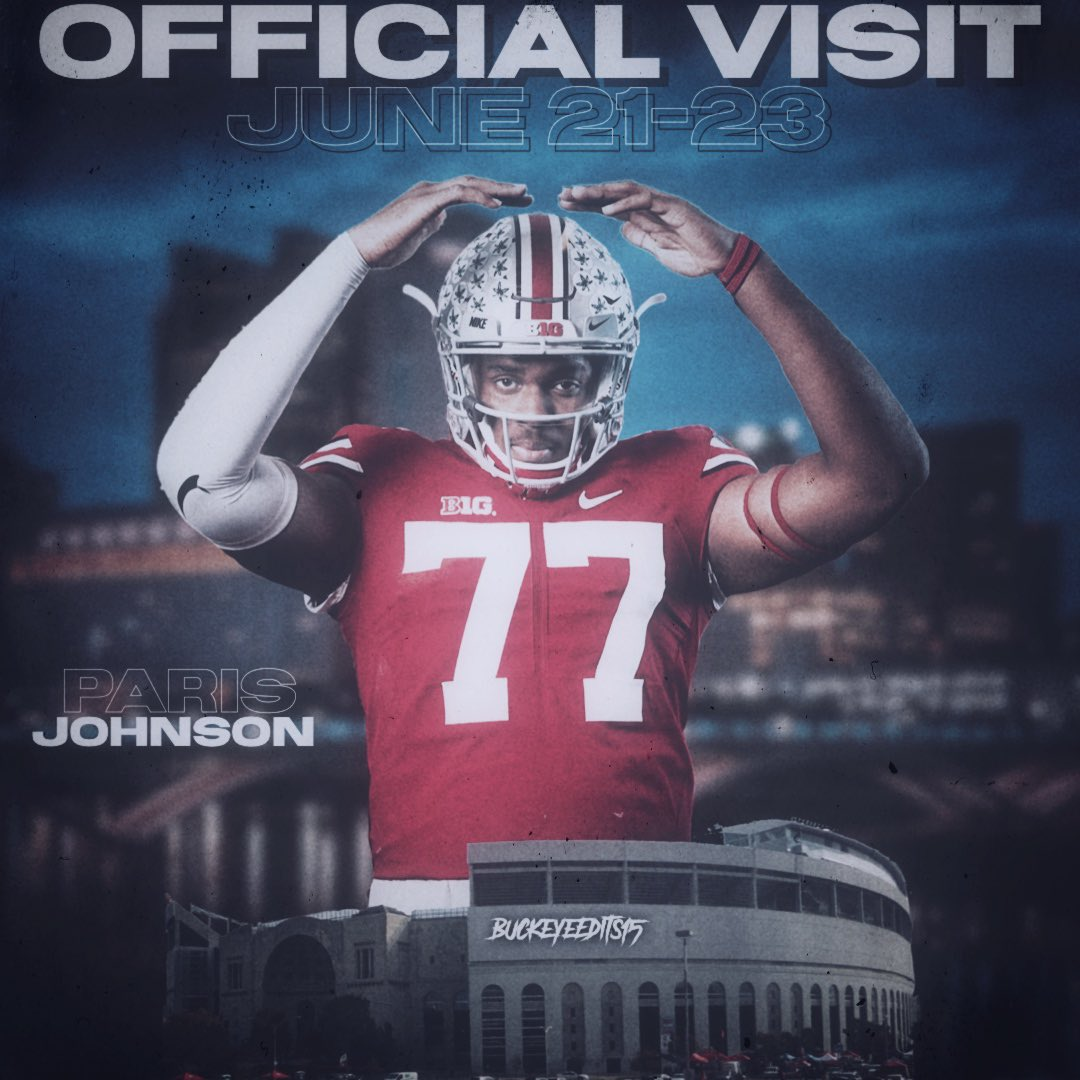 """5 OT Ohio State commit Paris Johnson Jr. will officially visit Ohio State this weekend.  • 6'7.5"""" 295lbs  • #1 Ranked OT in the Country   • #1 Ranked Player In Ohio  • Invited to the Opening Finals  • will play in All-American Bowl Game <br>http://pic.twitter.com/oadRgDxsqC"""