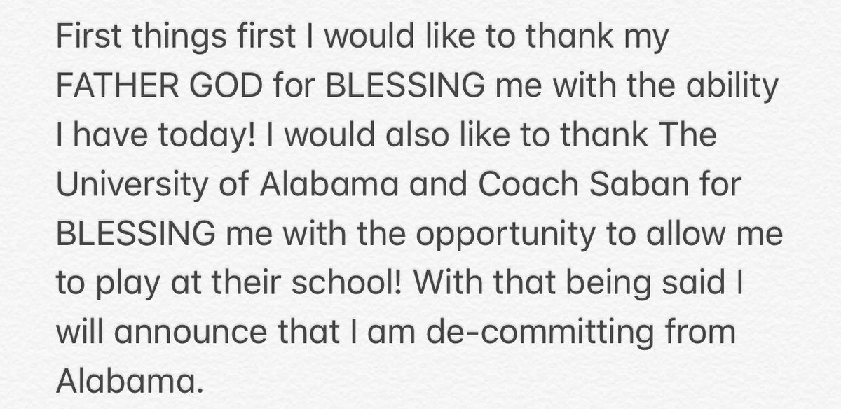 Alabama Football Loses Commitment From 2020 Recruit