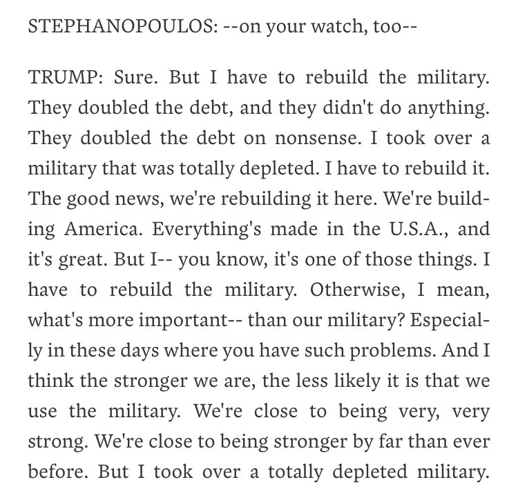 I dare you to read this and then conclude that the president has any clue what he's talking about  https://abcnews.go.com/Politics/transcript-abc-news-george-stephanopoulos-exclusive-interview-president/story?id=63749144 …