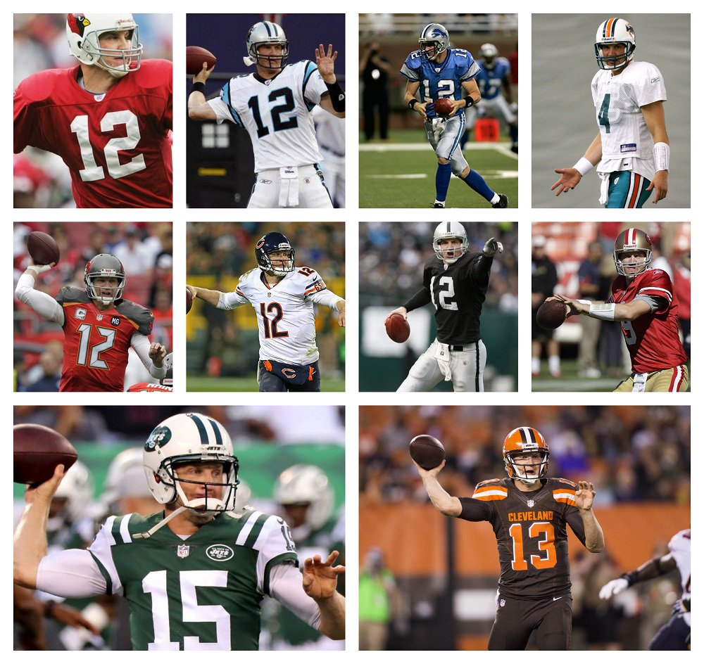 Josh McCown played for 10 teams during his NFL career.   #Cardinals, #Lions, #Raiders, #Dolphins, #Panthers, #49ers, #Bears, #Bucs, #Browns and #Jets. <br>http://pic.twitter.com/DAlBg9o6zh