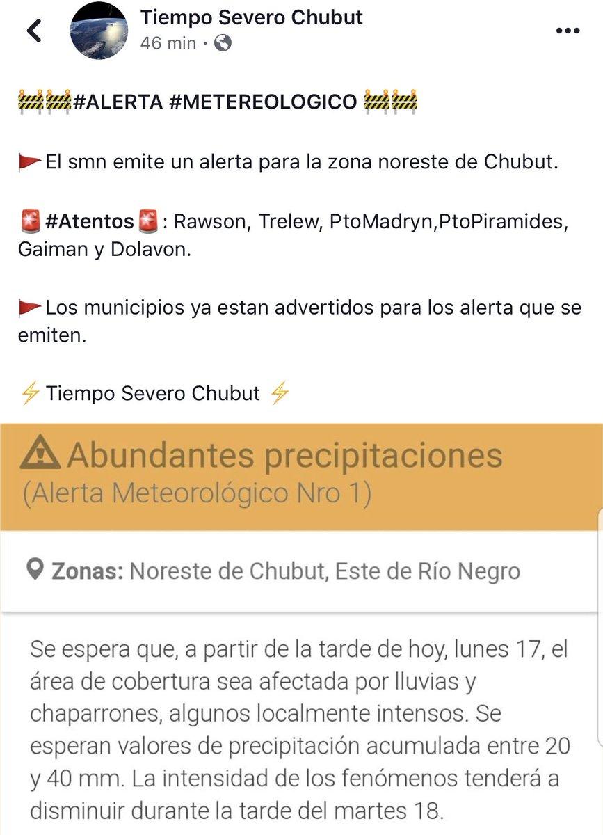 #Atencion ❗️ #PuertoMadryn #Trelew #Rawson #Piramides #Gaiman #Dolavon   Se esperan fuertes lluvias esta tarde según advierte el @SMN_Argentina 👇