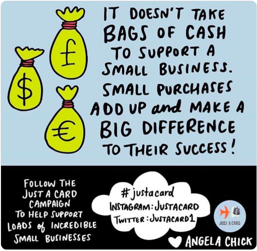 Our campaign shows how valuable EVERY SINGLE purchase is to independent shops, galleries & designers, no matter how small. Shop with us and you will be supporting them too!   https://www. justacard.org/shop       #shopsmall #shoplocal #supportsmallbusiness<br>http://pic.twitter.com/vo2dnuDgKw