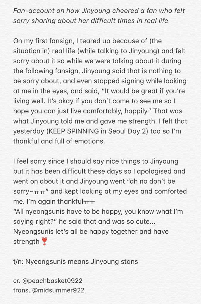 "Fan-account on how Jinyoung cheered a fan who felt sorry sharing about her difficult times in real life  ""It would be great if you're living well. It's okay if you don't come to see me so I hope you can just live comfortably, happily.""   #GOT7   @GOT7Official #Jinyoung<br>http://pic.twitter.com/7dG3f8MLcZ"