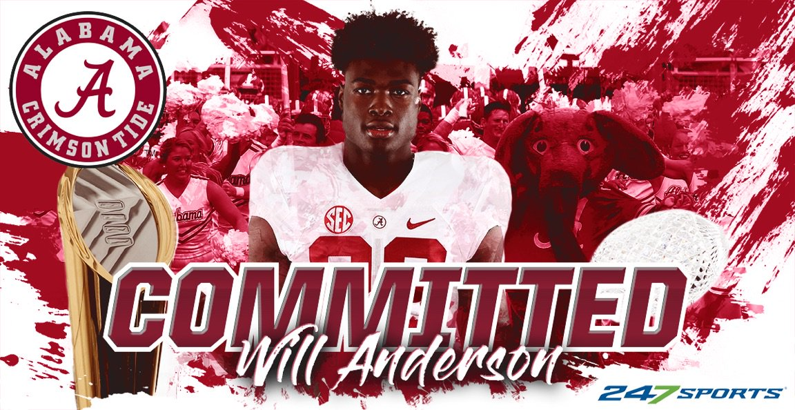 BREAKING: #Alabama lands Top100 Georgia DE Will Anderson    https:// 247sports.com/college/alabam a/Article/Alabama-Football-Recruiting-Elite-Georgia-DE-Will-Anderson-commits-to-Tide--132730044/  …  <br>http://pic.twitter.com/vLOlrMZq3T