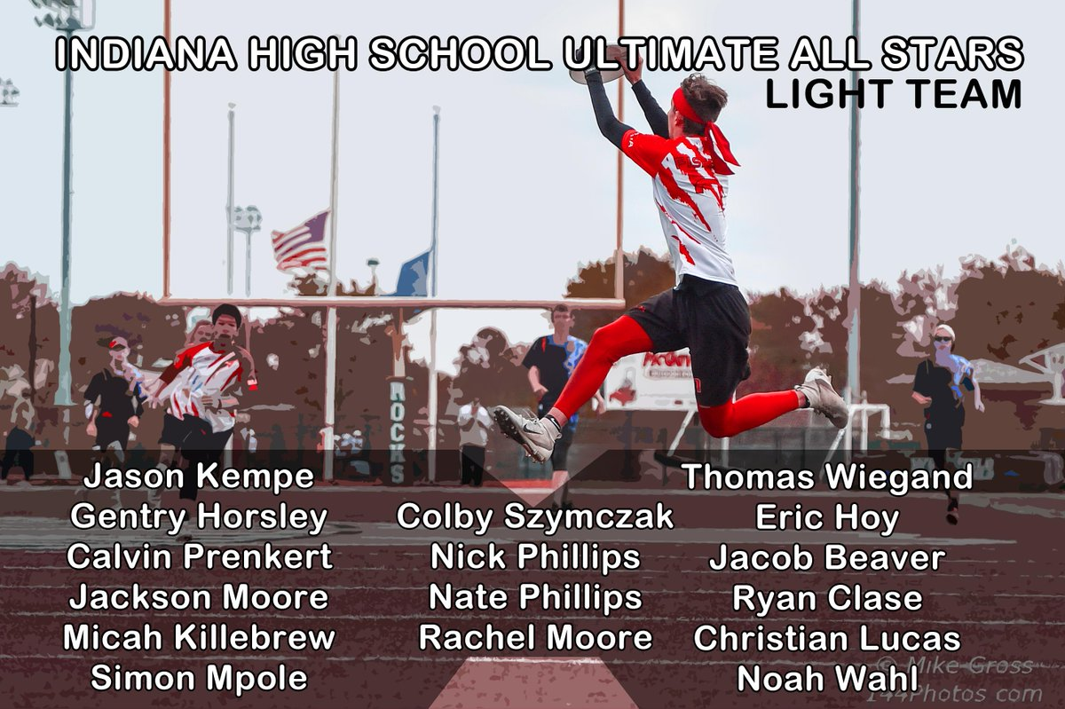 Introducing the light team for the Indiana High School Ultimate All Stars game this Saturday at 5pm at Grand Park Sports Campus. Tomorrow we will be announcing the dark team.