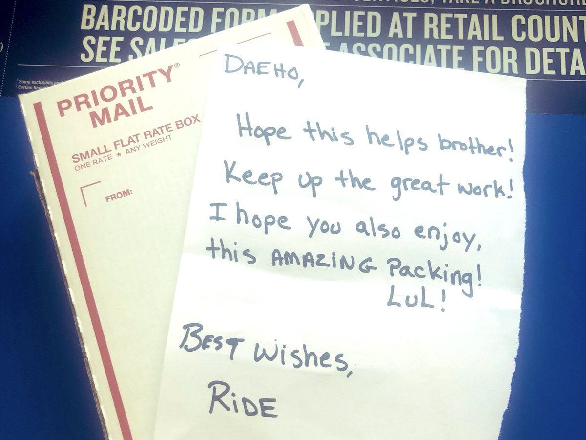 Also... the fact that I forgot too put this note in the box! @Daeholee_Grail #MLBtheShow  #PayItForward <br>http://pic.twitter.com/3VUwsSupWv