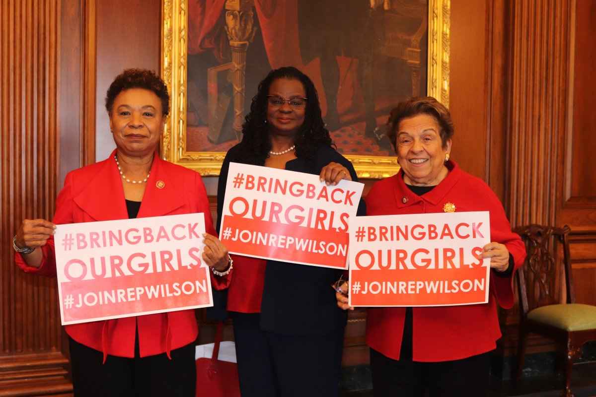 Grateful for my colleagues who join me in wearing red to call attention to the humanitarian crisis in Nigeria and the 112 still-missing #ChibokGirls. #BringBackOurGirls @RepLee @RepGwenMoore @RepShalala