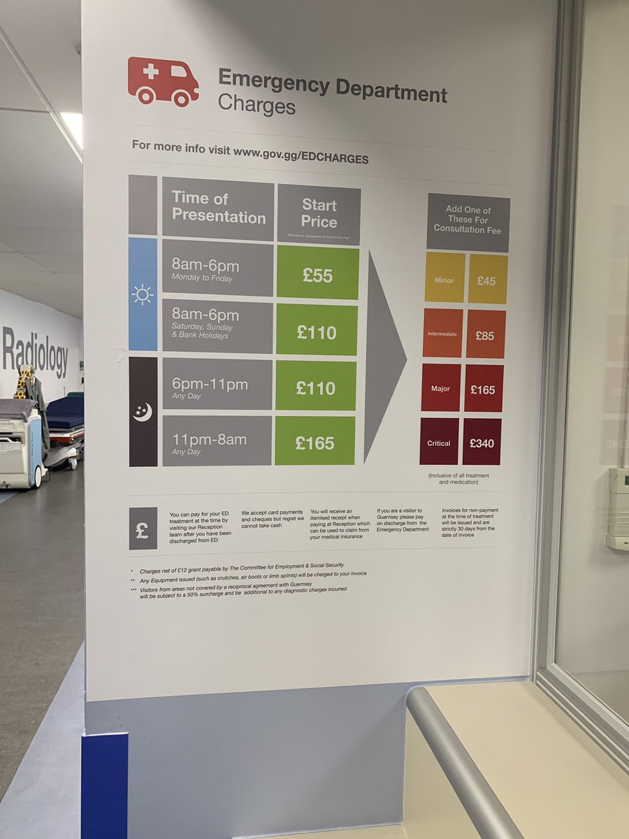 Currently sat in A&E here in Guernsey and thought I'd take a picture of the charges. Quite sobering and genuinely I'm missing the nhs. Cherish your #nhs #cherish #healthcare