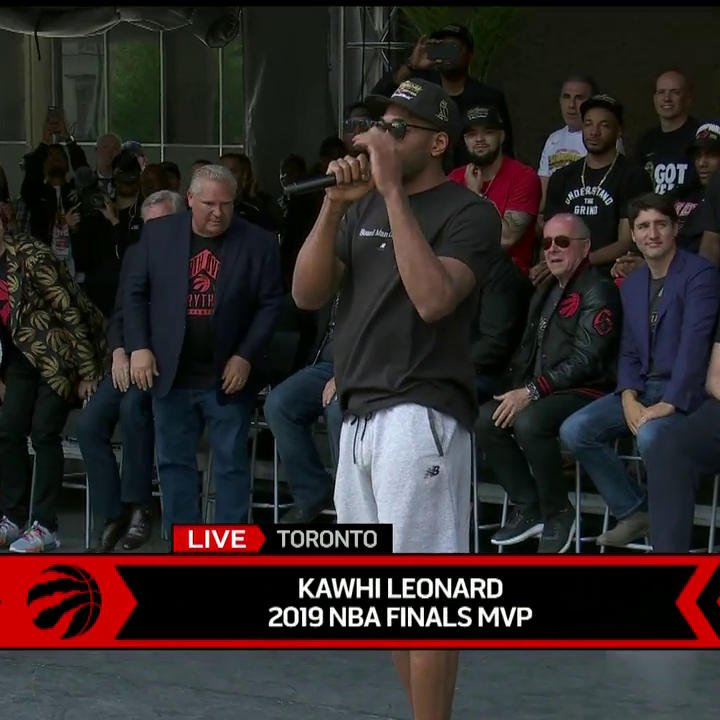 Kawhi expresses his gratitude toward the city of Toronto and ends with an epic mic drop. 😂