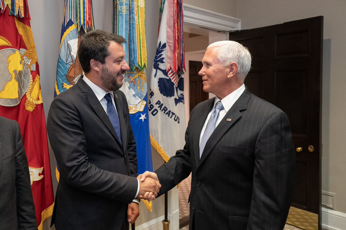 Great meeting with Deputy Prime Minister @matteosalvinimi of Italy today to discuss the U.S. – Italy relationship and our shared priorities. The transatlantic alliance is stronger than ever!