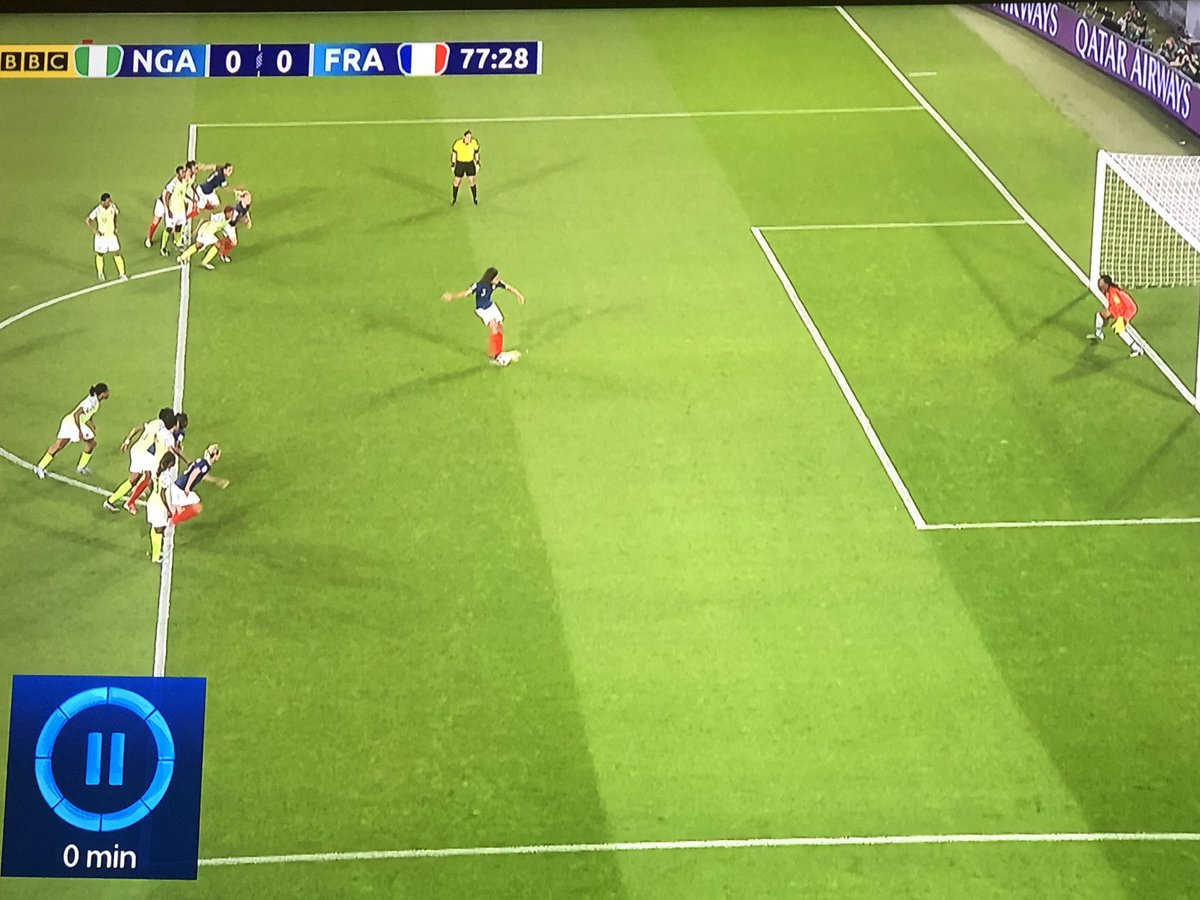 Farcical VAR decision again. Keeper marginally off line as penalty taken and receives yellow card BUT nothing said about french player in the box! #FIFAWWC2019 #NGAFRA #NGA #FRA #FIFAWWC