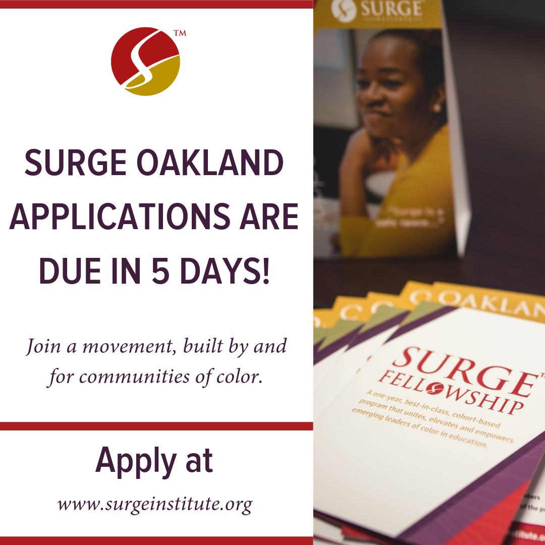 Don't miss your chance to be a part of a community of leaders in #education who are passionate about creating cultural and systemic change for #Oakland and #BayArea communities and youth of color. Apply at  https:// bit.ly/2LoGLkT       #SurgeOakland #EdEquity #EduColor #EdLeaders <br>http://pic.twitter.com/UnKR4P3JF1