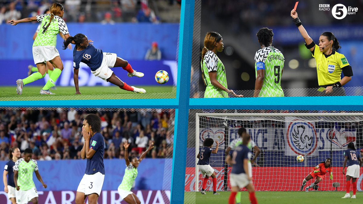 'A quadruple punishment for Nigeria. It's farcical!' - @ConorMcNamaraIE 🔲 Penalty by VAR🔴 Red card for Ebere🗣️ Retaken penalty⚽️ Goal for France FT: #NGA 0-1 #FRA VAR-cical? Share your thoughts...Reaction:📲⚽️: http://bbc.in/2AhzsDX  #NGAFRA #bbcfootball#FIFAWWC