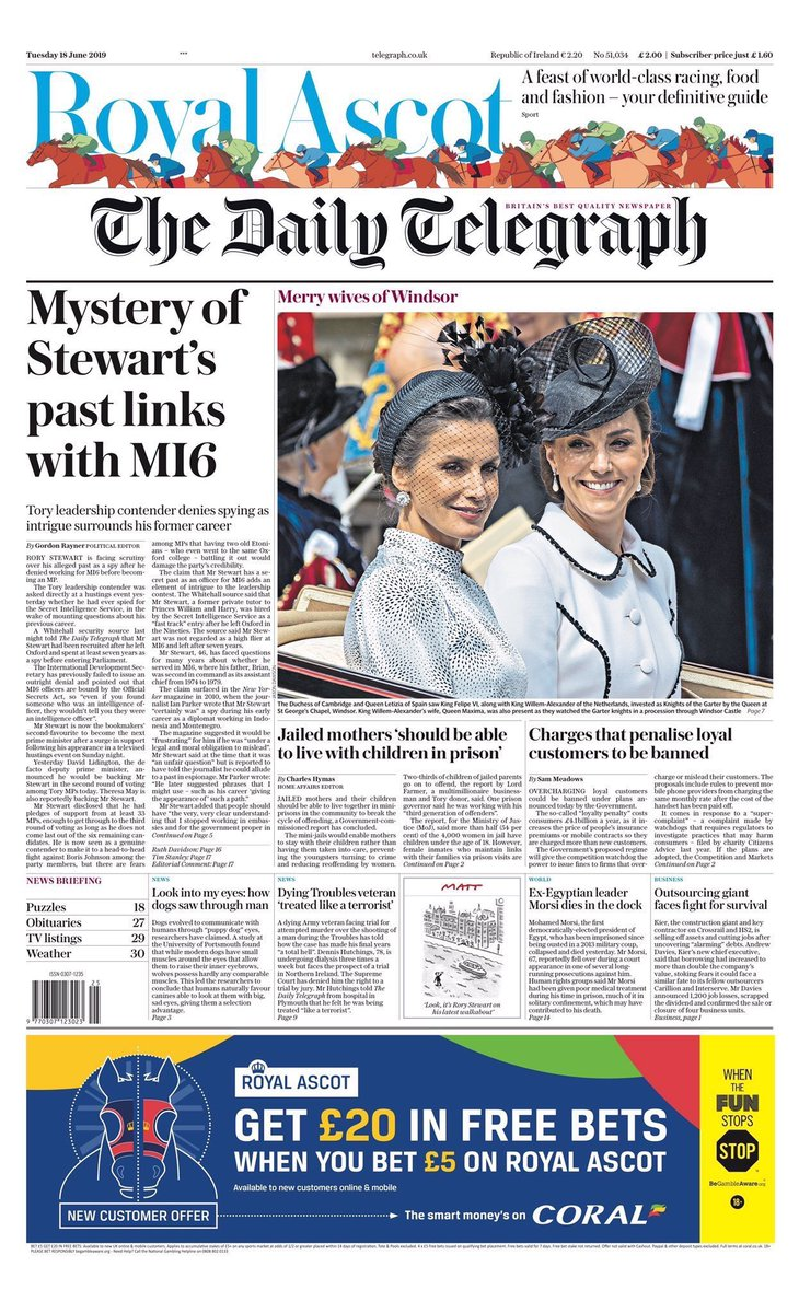This is a very revealing front page. Why would the Telegraph be going negative on the guy in last place? It's a mystery, right enough.