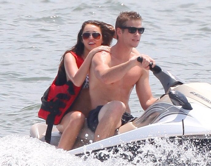 | Ten years ago, today.  Miley & Liam jet skiing in Georgia.  June 17th; 2009. <br>http://pic.twitter.com/g89Du2QdZl