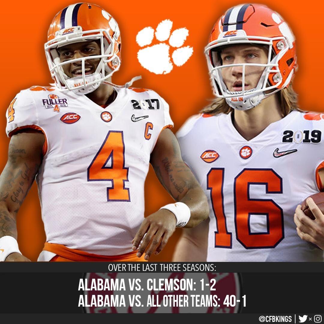 Alabama the past 3 seasons -  • vs. Clemson: 1-2 • vs. all other teams: 40-1 <br>http://pic.twitter.com/pjpn5YJHye