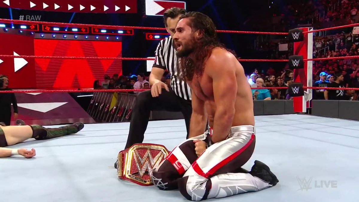 HE HAS DONE IT.  @WWERollins STOMPS his way to victory over @WWEDanielBryan for the first time in his career! #RAW<br>http://pic.twitter.com/wRMgCDpCS5