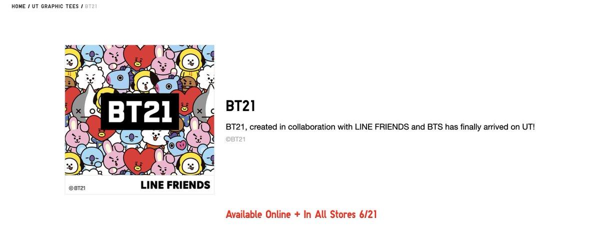 👕 Uniqlo X BT21 Available Online + In All Stores 6/21 @BTS_twt uniqlo.com/us/en/ut-graph…
