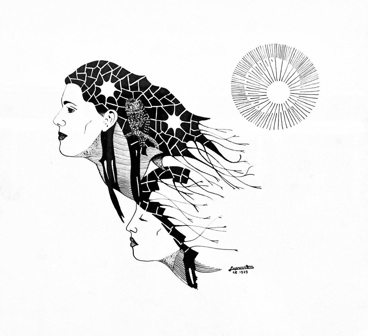 Totonho Laprovitera - Duas Mulheres - 1979 - Bico de pena - 30x30cm.  #arte #art #desenho #draw #dibujo #disegno #dessin