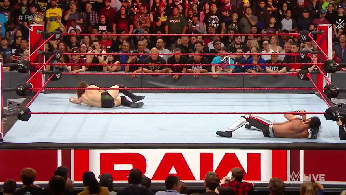 HIT THE BRICKS.  We're restarting @WWERollins vs. @WWEDanielBryan RIGHT NOW on #RAW with EVERYONE banned from ringside!<br>http://pic.twitter.com/cBrQn8Jawp