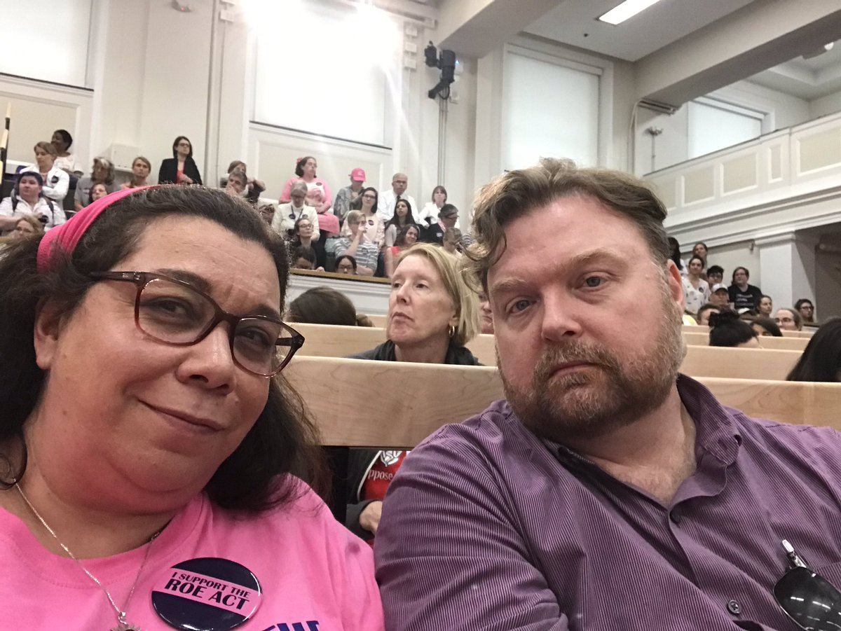 We're creasting into hour 6 of the #ROEAct hearing...luckily @KEBernard70  brought me snacks & water. My husband is the best! #AbortionIsAWomansRight #HealthcareIsARight #MaPoli<br>http://pic.twitter.com/TDgV7tztRs