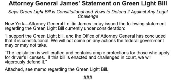 NEW: Attorney General Tish James says the #GreenLightNY bill is sound, refuting Gov. Cuomo's claims. https://t.co/zYBCCPldxl
