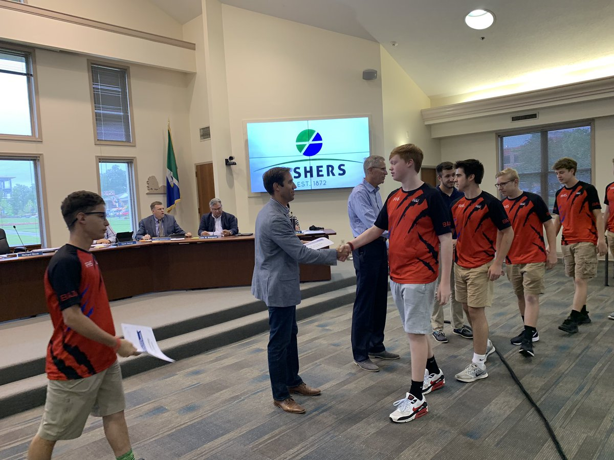 Tonight at City Council, we celebrated @FishersBaja Ultimate Frisbee State Champs. Congrats! #vibrantcity