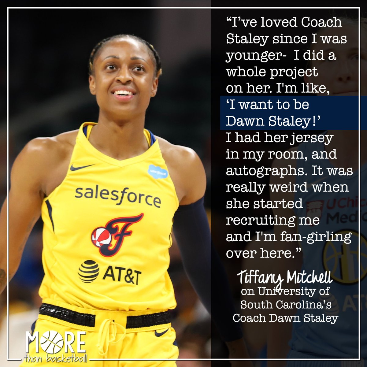 When @TiffMitch25 was younger, she loved @dawnstaley. In college, Tiffany got to play under her childhood basketball hero. This is one of many reasons it matters to have WNBA players that little girls can look up to. . #wnba #indianafever #fever20 #allforlove