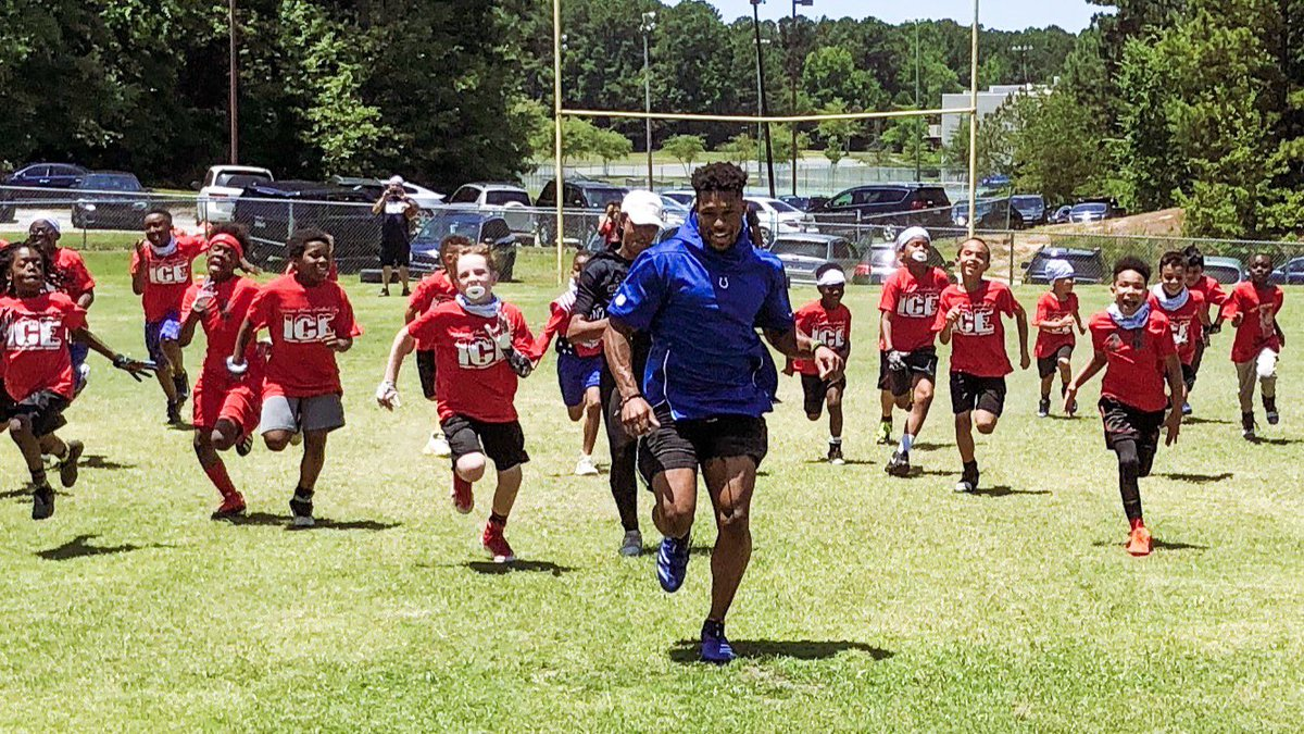 Catch him if you can.. @TheNyNy7 hosted an I.C.E. youth football camp in Durham, NC this past weekend!