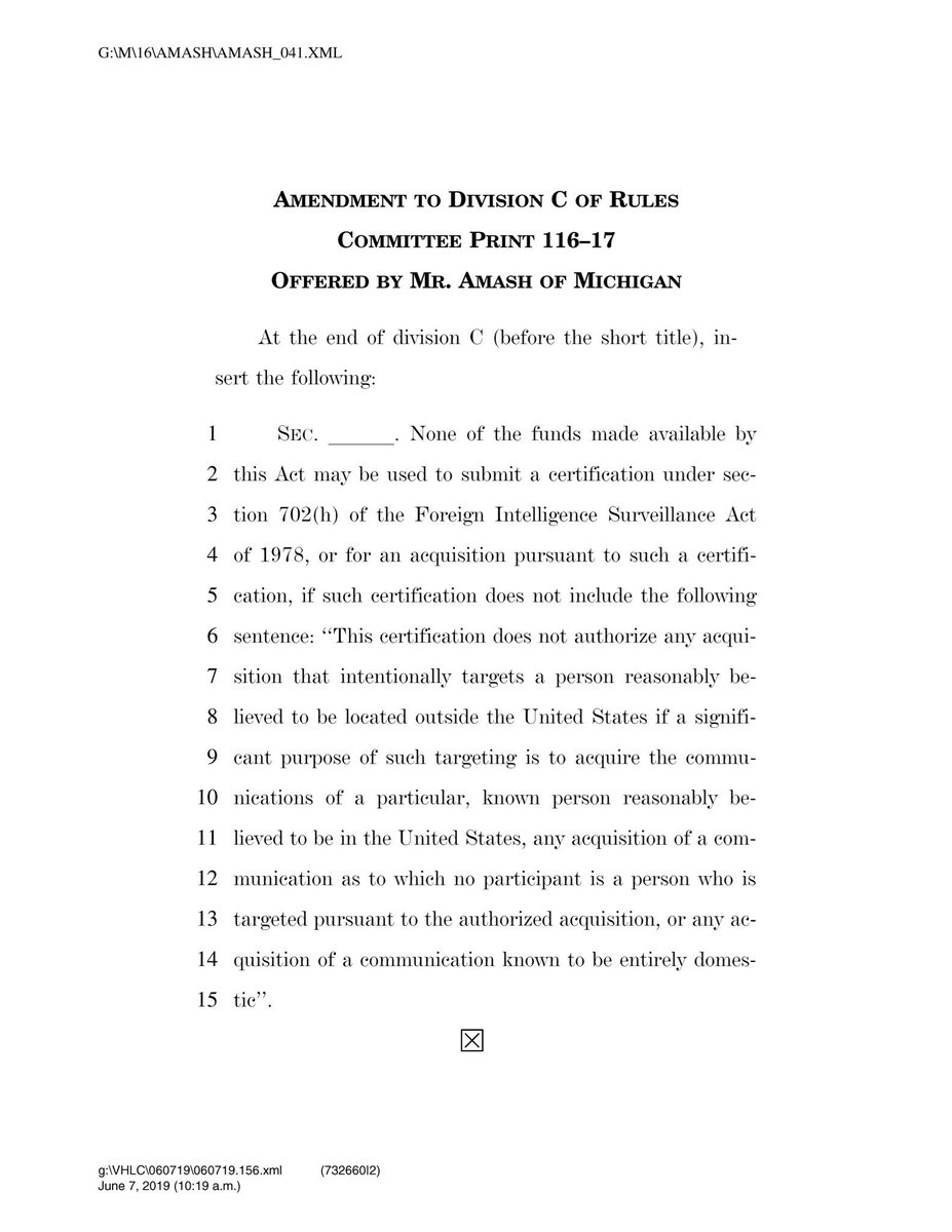 Our amendment upholds the Fourth Amendment by prohibiting the government from doing certain types of warrantless collections under FISA that unconstitutionally sweep up the private communications of countless law-abiding Americans.