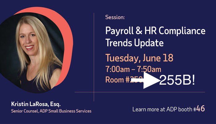 Looking forward to @neatcompany party tonight at #SNH19, then back at it tomorrow morning! Don't miss @ADP session on Payroll & HR Compliance Trends tomorrow morning! Don't mind the room change edit 😊
