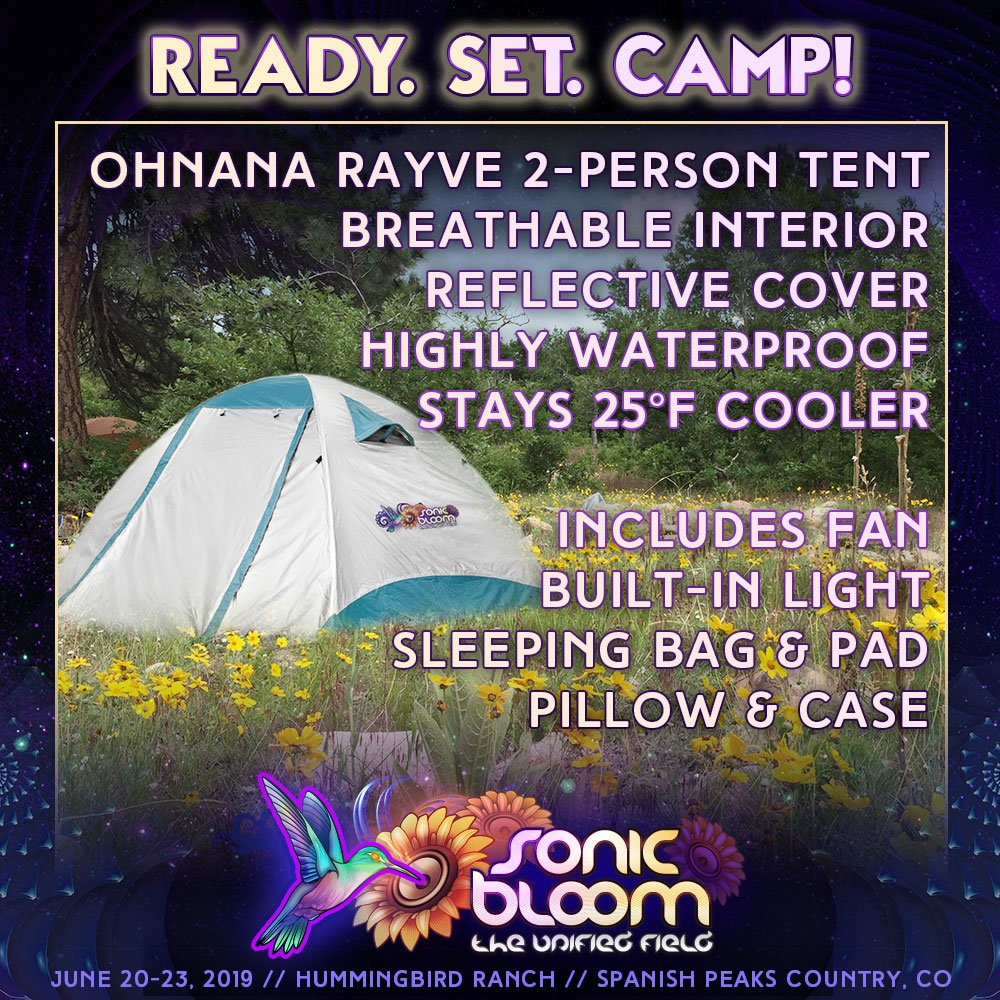 Fly into Denver, CO, take the train from airport to downtown, hop on our shuttle and arrive with a full tent camping package waiting for you!   https://sonicbloomfestival.com/sonic-bloom-tents/ …  #SONICBLOOM 2019 #Camping