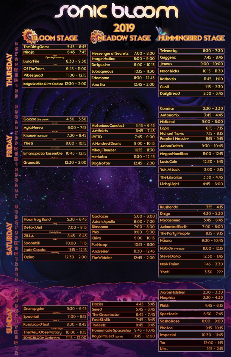 Daily schedules are here! 4-Day / 3-Day / 2-Day & Sunday tix on sale! http://bit.ly/SONIC_BLOOM_Tix   #SONICBLOOM
