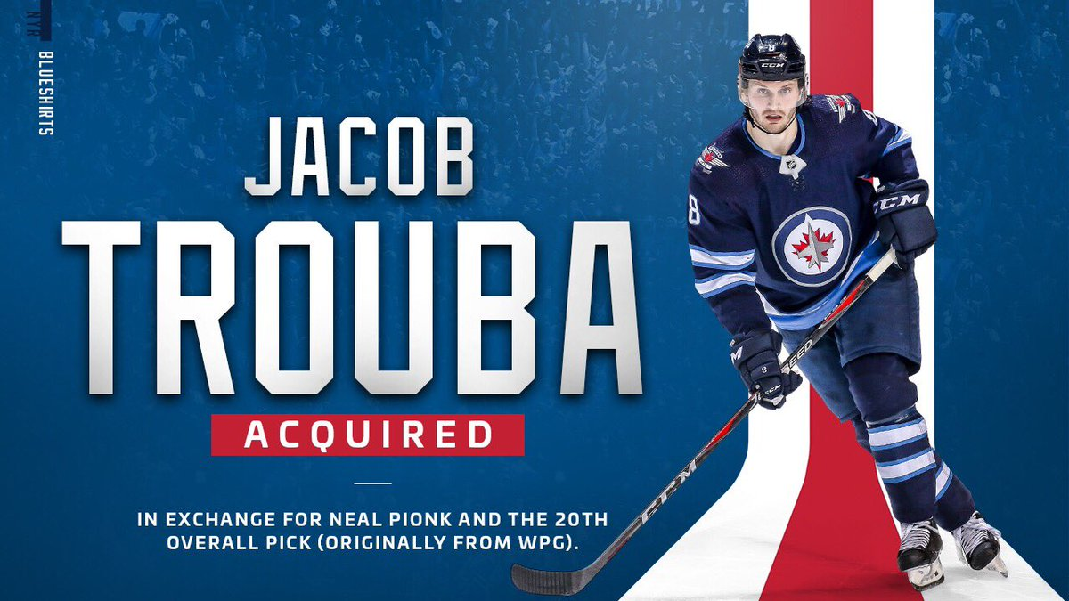 OFFICIAL: #NYR have acquired defenseman Jacob Trouba from the Winnipeg Jets in exchange for Neal Pionk and the 20th overall pick in the 2019 #NHLDraft (originally from WPG).<br>http://pic.twitter.com/rZTXYv4YG1