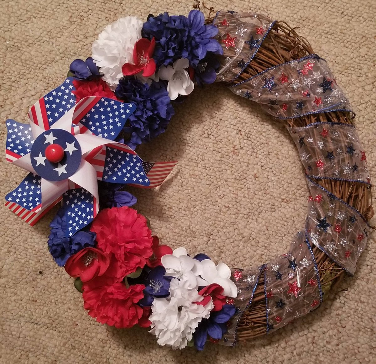Excited to share the latest addition to my #etsy shop: 4th of July, red white and blue American celebration 12 inch grapevine wreath etsy.me/2IlSo8v