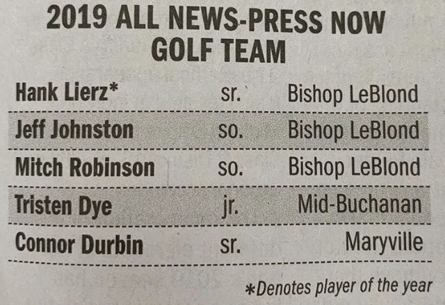 Congrats @LB_Golf players Hank, Jeff, and Mitch for being 2019 All News Press Golf Team. #Top3 <br>http://pic.twitter.com/5EhKY0LNAT