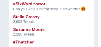 "a screenshot of trending twitter topics. at the top it says ""#SixWordHorror: can you write a horror story in six words?"" and directly below that are the topics ""Stella Creasy"", ""Suzanne Moore"" and ""Thatcher"""