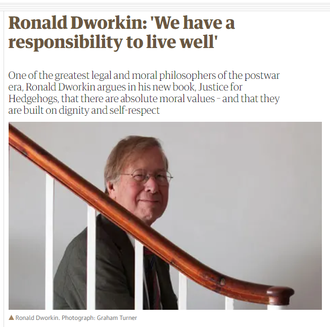 1/ Enjoying a lot this #OutSideTheBox reading about Dworkin´s work, for purposes of better supporting my #WomensRightsAreHumanRights advocacy. On this interview to The Guardian,  http:// bit.do/eVjyW     one can find the main points of his philosophy.  @DrsPenaBischoff<br>http://pic.twitter.com/Ga8NbdBUp1